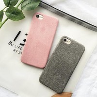 WIXCEN Winter Warm Simple Plush Case Soft Tpu Silicone Case for Iphone 6 6s 6plus 7 7plus 8 x case Anti-knock Fur Back Cover