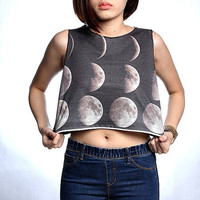 The Moons - Half Moon And Full Moon Shirt T-Shirt Crop Top Tank Size S M L