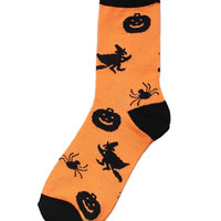 Orange Halloween Print Ankle Socks