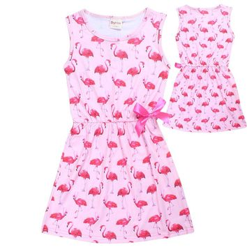 Summmer Girls Flamingo Print Dress For Baby Kids Dresses Print Flamingo Pink Color for Girl Children Clothes costume princesse