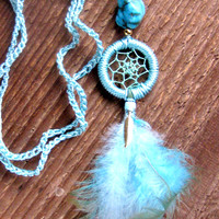 Dream Catcher Necklace Long Layering Necklace Bohemian Jewelry