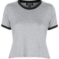 Contrast Crop Tee - Grey
