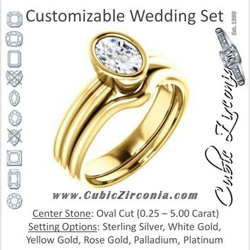 CZ Wedding Set, featuring The Stacie engagement ring (Customizable Bezel-set Oval Cut Solitaire with Grooved Band)