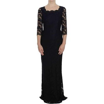 Dolce & Gabbana Black Floral Lace Long Ball Maxi Dress