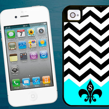 Monogram Fleur de lis iPhone 4/5 tough case, 2 piece rubber lining case turquoise black white chevron, iPhone 4 iPhone 5, personalized