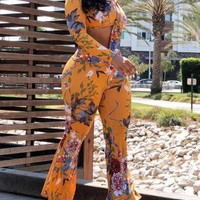 New Orange Floral Print Sashes Two Piece Crop Deep V-neck Bell Bottoms Flare Long Jumpsuit