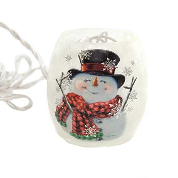Stony Creek SNOWMAN SMALL LIGHTED GLASS JAR Glass Electric Dgh8252 A