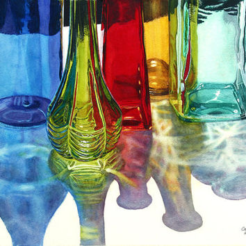 Glass Bottles in Sun art watercolor painting print 11x14 Blue Green Red Yellow Teal by Cathy Hillegas