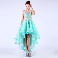 Women Short Prom Dresses Cap Sleeve Lace Crystal Beading Appliques Ruched Formal Graduation Dresses