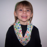 Alphabet Kids Infinity  Scarf~Flannel Letter Scarf~A-B-C scarf~Circle scarf~Girl or Boy scarf~green, red, blue and yellow letters