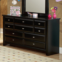 Chelsea Home 9 Drawer Dresser in Black Cherry