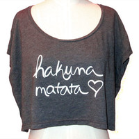 Hakuna Matata Cotton Poly Womens Oversized Crop Top