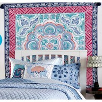 Nia Pink Pattern Mandala Pattern Cotton Wall Bed Tapestry