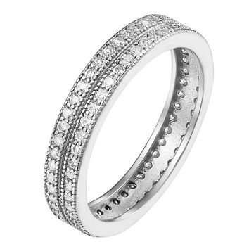 Sterling Silver Micro Pave Cubic Zirconia Mens 2 Row Eternity Wedding Band