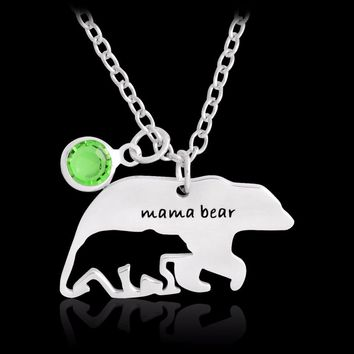 Mama bear Hollow Bear baby Pendant Necklace 12 Month Birthstone Stainless steel Love Mother Kids Family Jewelry Birthday gift