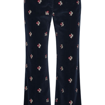 Maison Margiela - Embroidered velvet flared pants