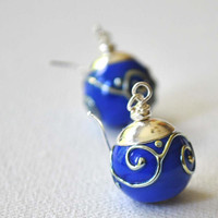 Royal Blue Swirl Lampwork Glass Earrings on Sterling Silver Ear Hooks, Cobalt Blue Dangle Earrings
