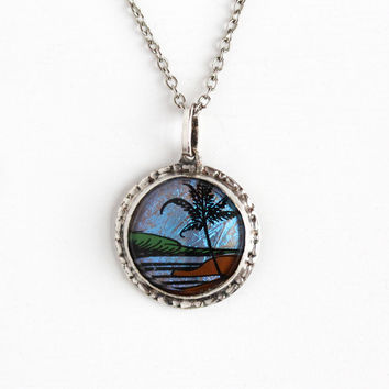 Vintage Silver Tone Blue Morpho Butterfly Wing Pendant Necklace - Souvenir Palm Tree Tropical Beach Made in Brazil Jewelry on Sterling Chain