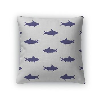 Throw Pillow, Pattern With Sharks