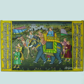 "5""x7"" Rajasthani Mughal Procession Miniature Painting Indian Wall Decor Art"