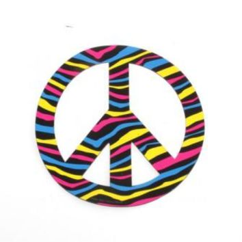 Multi Color Zebra Stripe Peace Sign Car Magnet