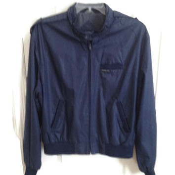 Mens Members Only By Europe Craft Retro Bomber Jacket Navy Size 46 (L) Vintage from the 1980's