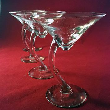 Libbey Martini Glasses with Curved Stems  S/4