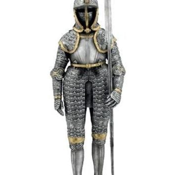 Medieval Knight in Armor with Langdebeve Weapon Statue 11.75H
