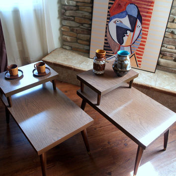 ATOMIC END TABLES Vintage 50s Mid Century Modern Faux Bois 2 Tiered End Table Set Retro Geometric Living Room Furniture