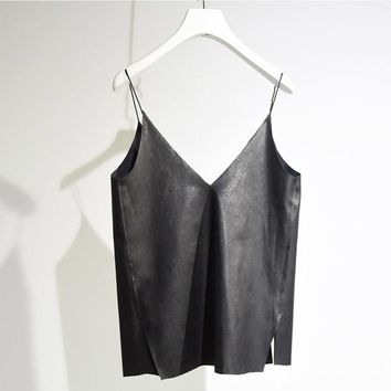 Women's Brief V Neck Camisole 2018 Summer Casual Ladies Faux Leather Bottoming Shirt Sides Splits Black Vest For Girls SH158