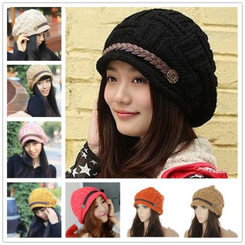 New Women's Fashion Lady Beret Braided Baggy Beanie Crochet Warm Winter Hat Ski Cap Wool Knitted Hats 8 Colors = 1696897348