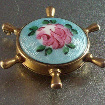 Vintage Victorian Guilloche Enamel Hair Locket Pendant,  Glass Back, Ship Wheel