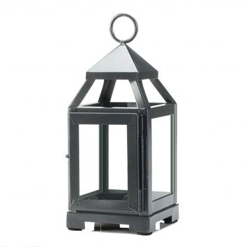 Iron Silver Mini Contemporary Candle Holder Lantern