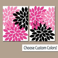 Pink Black WALL Art Canvas or Prints Hot Pink Bathroom Artwork Bedroom Pictures Nursery Decor Floral Dahlia Flower Burst Petal Set of 2
