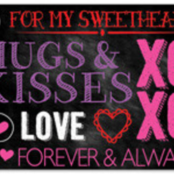 Hugs & Kisses Chalkboard Blank Note Card