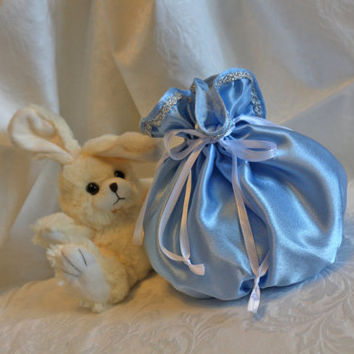 Light blue satin silver ribbon  pompadour purse evening handbag wristlet drawstring reticule
