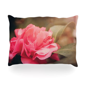 "Angie Turner ""Camelia"" Pink Flower Oblong Pillow"