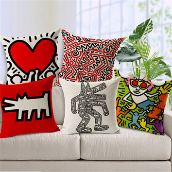 hot sale decorative throw pillows case Keith Haring Paintings seat cushion cover cotton linen pillowcase for sofa home almofadas