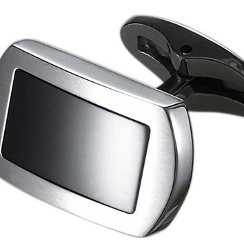 Caseti Turbo Stainless Steel and Black Onyx Cuff Links