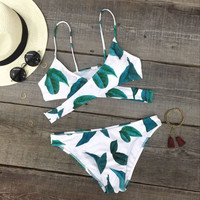 Sexy Vivid Fresh Leaves Bikini Set