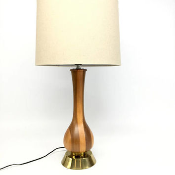 Mid Century Lamps, Mid Century Modern, Vintage Table Lamp, Danish Modern Lamp, Modern Wood Lamp, MCM Lamp, White Ceramic Teak Lamp