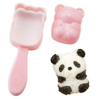 CuteZCute Fun Rice Mold Onigiri Shaper and Dry Roasted Seaweed Cutter Set, Baby Panda