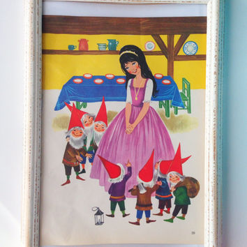 Vintage Print / Snow White and the seven dwarfs / Orginal Page from Vintage Fairytale Book