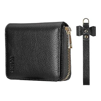 Women Credit Card Wallet COCASES RFID Blocking Genuine Leather Double Zipper Purse