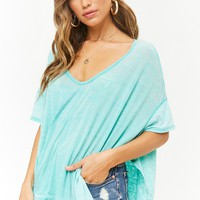Mineral Wash Burnout Topstitched Top