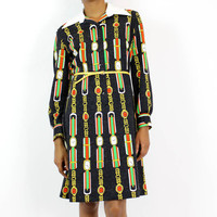 clock print dress M/L faux Gucci print long sleeve collar shirtdress