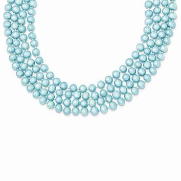 Freshwater Cultured Blue Pearl Single Strand Necklace
