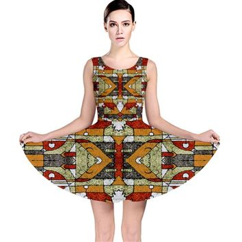 Multicolored Abstract Tribal Print Skater Dress