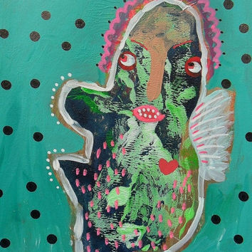Pop Art Painting Brut Raw Primitive Geeky Self Taught Artist Green Weird Outsider Abstract Monster Street Ugly Pop Surrealism Primitive