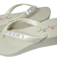 Wedge Ivory I Do Flip Flops for the Bride- White -Silver Glitter- 2 inch Heel